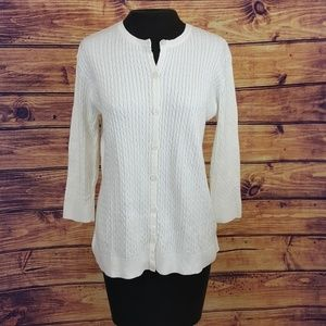 Jeanne Pierre white cable knit cardigan
